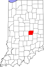Map of Indiana showing Hancock County