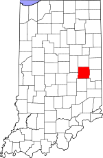 Map of Indiana showing Henry County