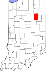 Map of Indiana showing Huntington County