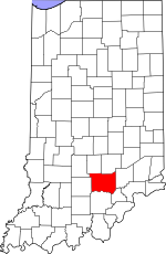 Map of Indiana showing Jackson County
