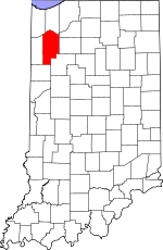 Map of Indiana showing Jasper County