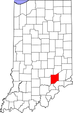 Map of Indiana showing Jennings County