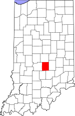 Map of Indiana showing Johnson County