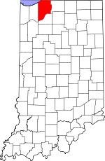 Map of Indiana showing La Porte County