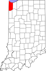 Map of Indiana showing Lake County