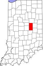 Map of Indiana showing Madison County
