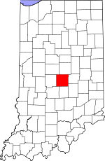 Map of Indiana showing Marion County