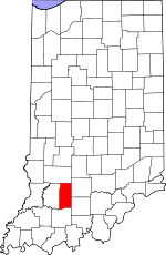 Map of Indiana showing Martin County