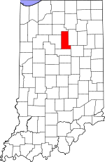 Map of Indiana showing Miami County