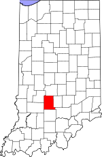 Map of Indiana showing Monroe County