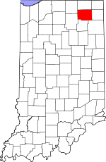 Map of Indiana showing Noble County