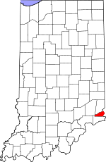 Map of Indiana showing Ohio County