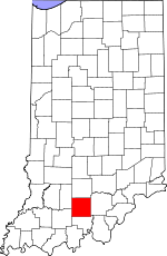 Map of Indiana showing Orange County