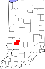 Map of Indiana showing Owen County