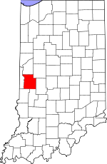 Map of Indiana showing Parke County
