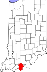Map of Indiana showing Perry County