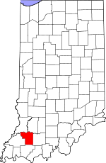 Map of Indiana showing Pike County