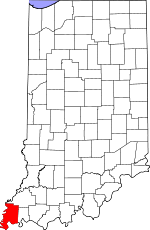 Map of Indiana showing Posey County