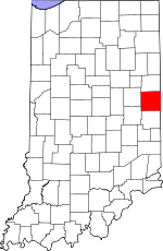 Map of Indiana showing Randolph County