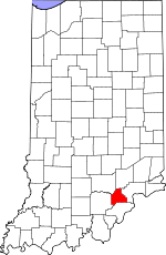 Map of Indiana showing Scott County