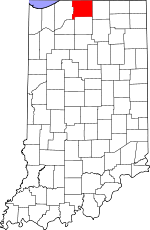 Map of Indiana showing St. Joseph County
