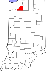Map of Indiana showing Starke County