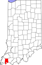 Map of Indiana showing Vanderburgh County