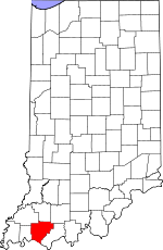 Map of Indiana showing Warrick County