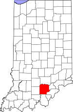 Map of Indiana showing Washington County