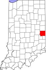 Map of Indiana showing Wayne County