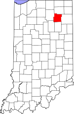 Map of Indiana showing Whitley County