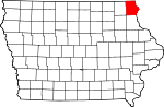 Map of Iowa showing Allamakee County