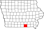 Map of Iowa showing Appanoose County