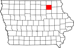 Map of Iowa showing Chickasaw County