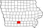 Map of Iowa showing Clarke County