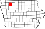 Map of Iowa showing Clay County
