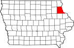 Map of Iowa showing Clayton County