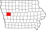 Map of Iowa showing Crawford County