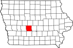 Map of Iowa showing Dallas County