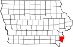 Map of Iowa showing Des Moines County