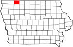 Map of Iowa showing Dickinson County