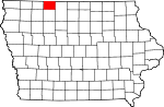 Map of Iowa showing Emmet County