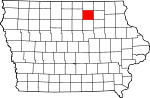 Map of Iowa showing Floyd County