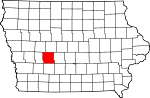 Map of Iowa showing Guthrie County