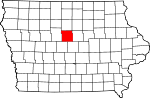 Map of Iowa showing Hamilton County