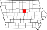 Map of Iowa showing Hardin County
