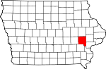 Map of Iowa showing Johnson County