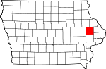 Map of Iowa showing Jones County