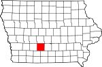 Map of Iowa showing Madison County