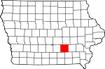 Map of Iowa showing Mahaska County